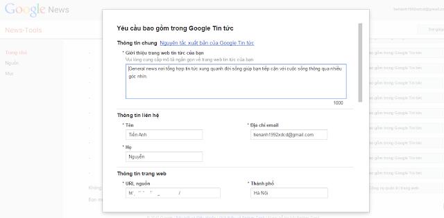 Ảnh. Đăng kí Google News