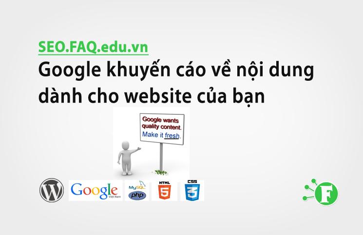 Google khuyến cáo về nội dung dành cho website của bạn