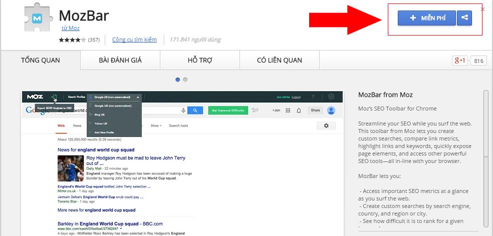 Click vào miễn phí để cài đặt Mozbar