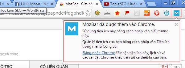 Hoàn tất quá trình cài đặt Mozbar