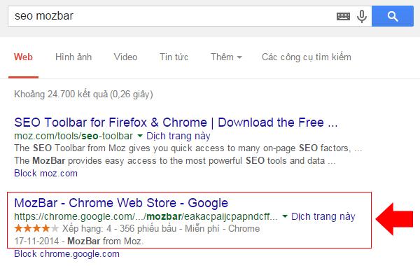 Cài đặt addons SEO MOZbar trên Google Chrome