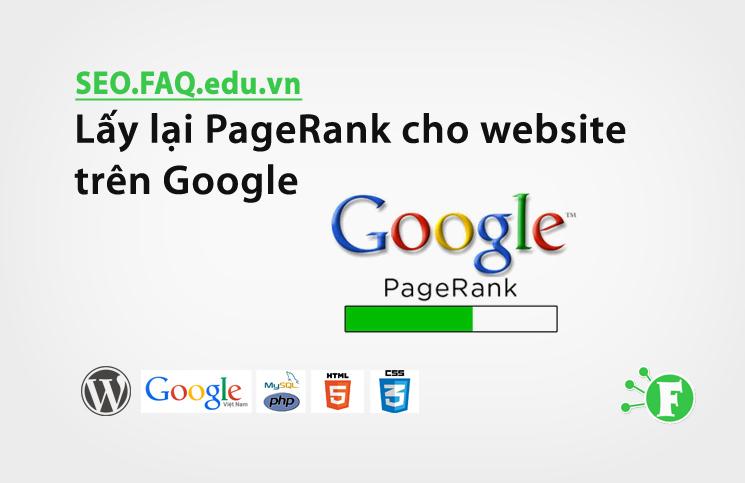 Lấy lại PageRank cho website trên Google